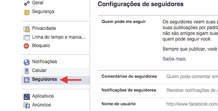 Acessando as configurações de seguidores do Facebook (Foto: Reprodução)