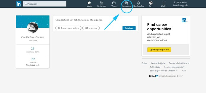 Vá nas suas mensagens no LinkedIn (Foto: Reprodução/Camila Peres)
