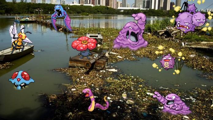Pokémons venenosos se reúnem em lagoas e áreas pantanosas, as quais normalmente são poluídas (Foto: Reprodução/Rafael Monteiro)