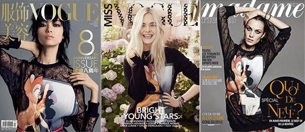 Capas da revista Madame e Vogue com Bambi Givenchy (Foto: Reprodução / Madame e Vogue)