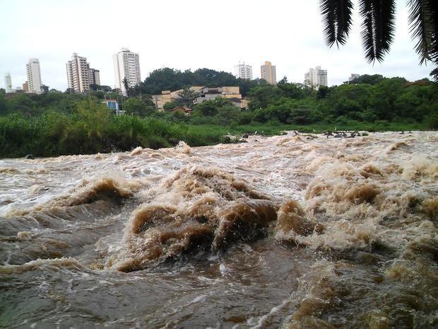 Vazão do Rio Piracicaba quase triplicou após chuvas nesta quinta-feira (5)  (Foto: Wesley Justino/EPTV)