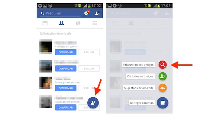 Acessando a ferramenta de pesquisa de novos contatos do Facebook para Android (Foto: Reprodução/Marvin Costa)