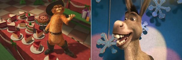 Burro e o Gato de Botas comemoram o Natal na casa de Shrek (Foto: Divulgação/Reprodução)
