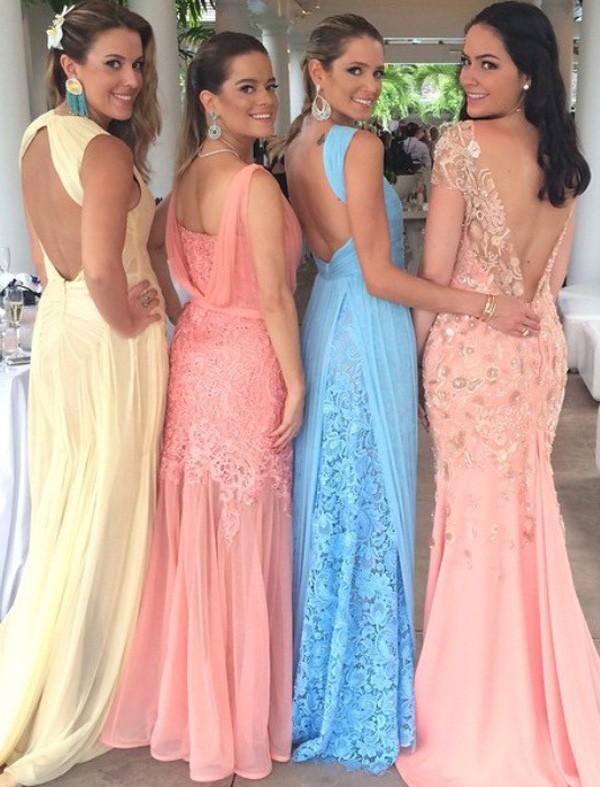 Ao invés de pedir para as madrinhas usarem a mesma cor de vestido, você pode escolher uma cartela de tons, como fez Mica Rocha (Foto: Reprodução/Instagram)