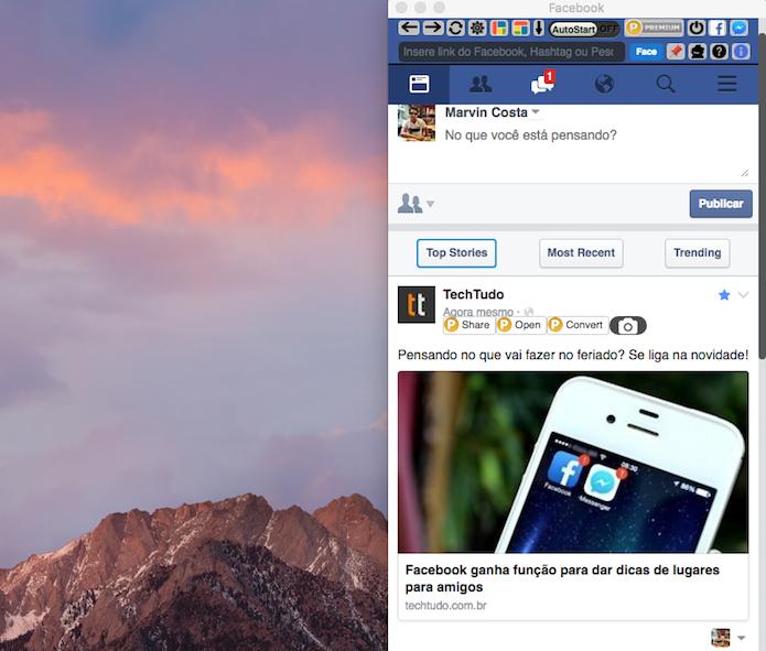 Janela do Facebook na extensão Blue Messenger para Google Chrome (Foto: Reprodução/Marvin Costa)