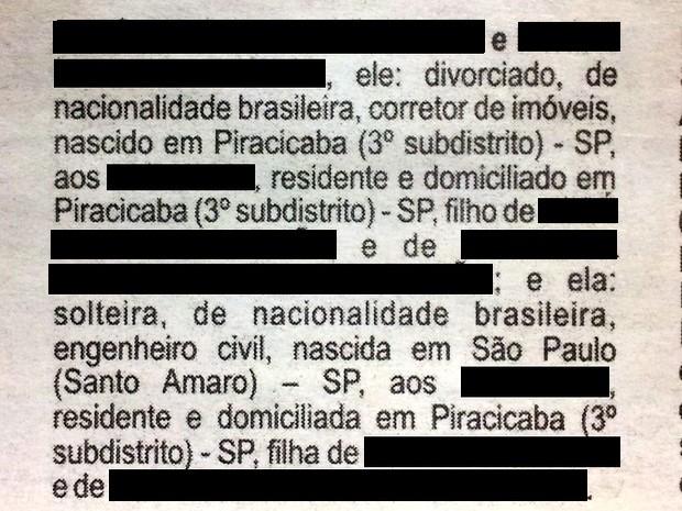 Edital de Proclamas de casal homoafetivo publicado em Piracicaba (Foto: Reprodução/G1)