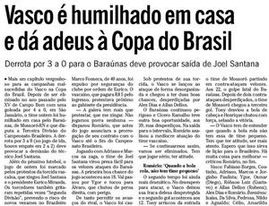 O Globo destaca vitória do Baraúnas sobre o Vasco (Foto: Reprodução/O Globo)
