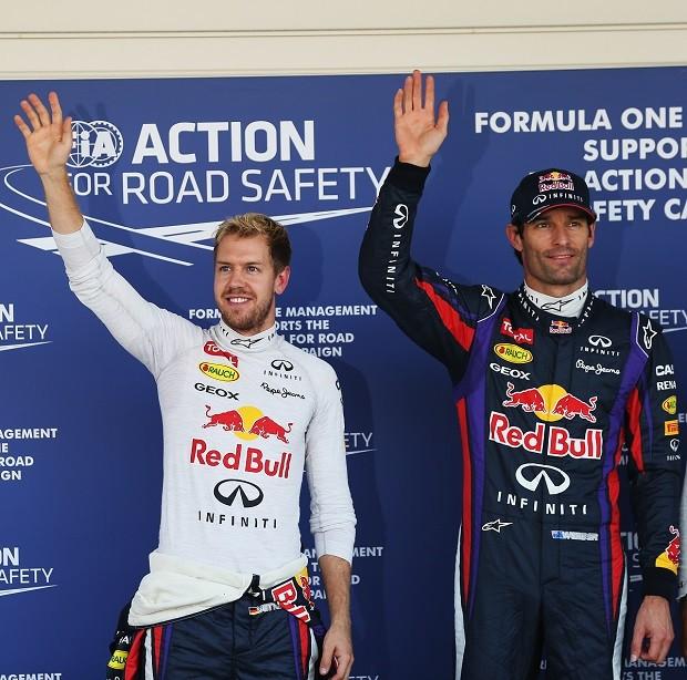 Sebastian Vettel e Mark Webber após treino classificatório para o GP do Japão (Foto: Getty Images)