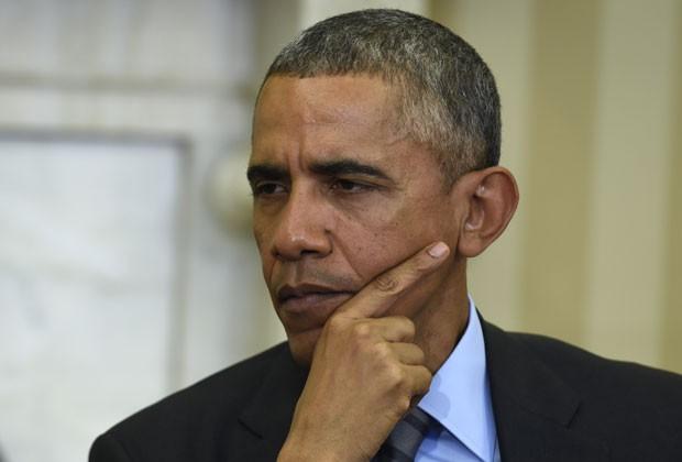 Presidente Obama em reunião com o presidente do Conselho Europeu, nesta segunda (9), no Salão Oval da Casa Branca (Foto: AP/Susan Walsh)