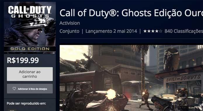Call of Duty Ghosts na PlayStation Store (Foto: Reprodução/Felipe Vinha)