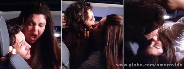 Perséfone ataca Valentin dentro do carro e quase o sufoca (Foto: Amor à Vida / TV Globo)