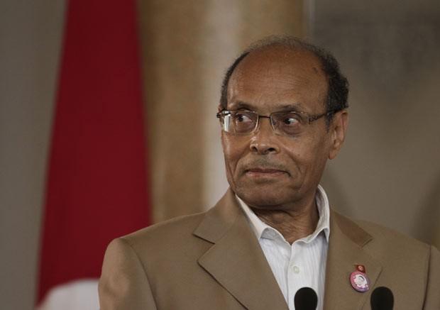 O presidente da Tunísia, Moncef Marzouki, nesta quarta-feira (11) no Cairo (Foto: AFP)