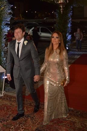 Solange Almeida com o empresário Wagner Miau no casamento de Xand em Fortaleza, no Ceará (Foto: Felipe Souto Maior/ Ag. News)