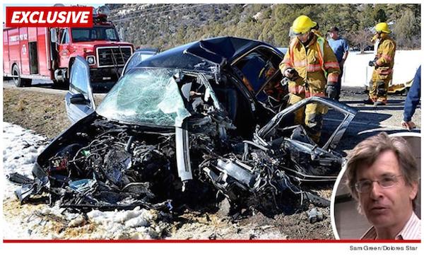 A foto do acidente causado pelo ator Robert Carradine em matéria do site TMZ (Foto: Reprodução)