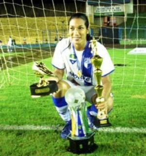 Daniela Alves: campeã e artilheira da Copa do Brasil 2007 pelo MS Saad (Foto: Reprodução/TV Morena)