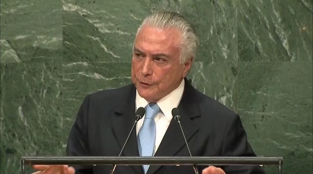 Presidente Michel Temer discursa na Assembleia Geral das Nações Unidas