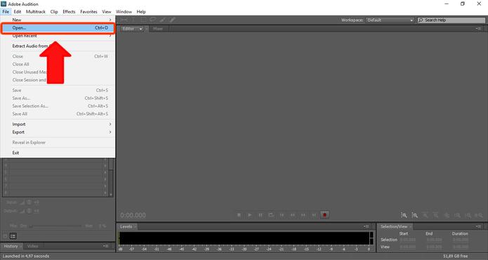 O Adobe Audition aceita até os mais diferentes formatos de áudio. (Foto: Reprodução / Gabriel Galli)