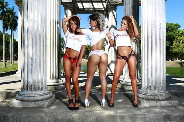 Valentina Francavilla, Vanessa Mesquita e Cacau Colucci posam para marca de lingerie (Foto: Divulgação)