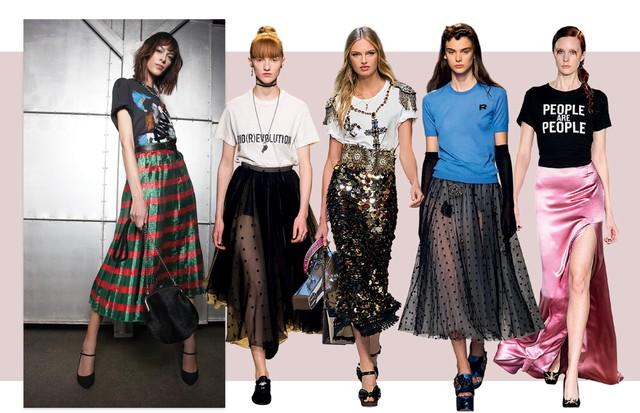 À esquerda,T-shirt À La Garçonne (R$ 489), saia Gucci (R$ 9.240), colar Amaro (R$ 70), cinto John John (R$ 398), bolsa Gloria Coelho (R$ 1.999) e escarpins Carmen Steffens (R$ 400). Ao lado, Dior, Dolce & Gabbana, Rochas e Christian Siriano (Foto: Cassia Tabatini, Alique/Reprodução Vogue Paris P. 70, Christian Vierig/Getty Images, Imaxtree e Divulgação)