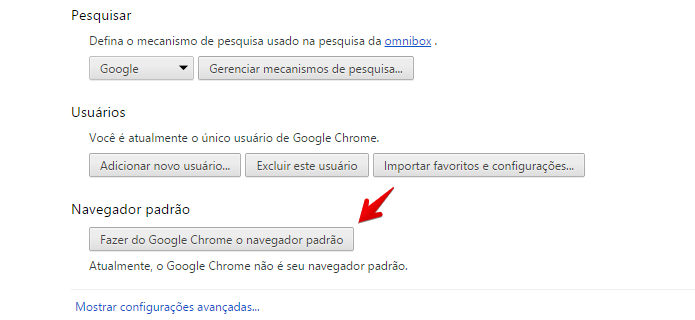 Definindo o Chrome como navegador padrão (Foto: Reprodução/Helito Bijora)