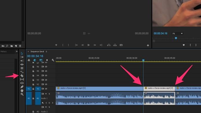 Corte a parte do vídeo que ficará em câmera lenta (Foto: Reprodução/Lucas Mendes)