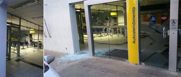 Vidraças da agência foram estilhaçadas com a explosão, mas os caixas resistiram (Foto: Carlos André de Menezes/Águas de Maré)
