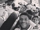 David Luiz faz careta em foto com jogadores: 'Partiu Fortaleza'