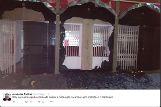 Imagem divulgada por Padilha mostra prédio da direção nacional do PT em São Paulo com os vidros quebrados (Foto: Reprodução/Twitter)