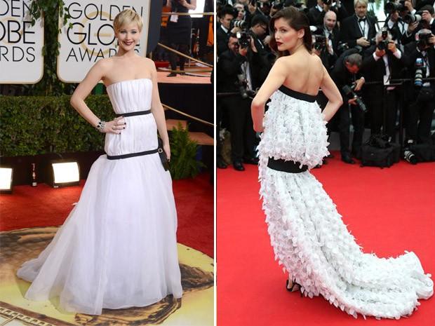 Laetitia Casta no Festival de Cannes 2014 e Jennifer Lawrence no Globo de Ouro 2014 (Foto: AP Images)