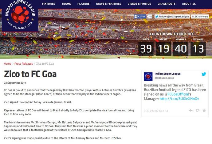 Anúncio do Zico no FC Goa da Índia (Foto: Reprodução)