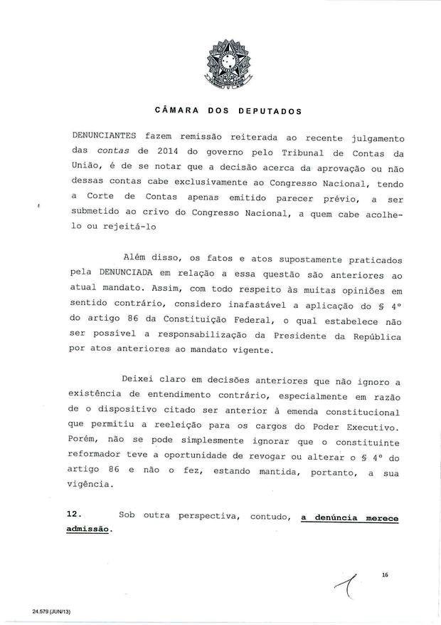 16 - Leia íntegra da decisão de Cunha que abriu processo de impeachment (Foto: Reprodução)