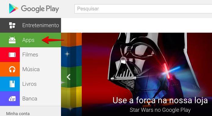 Acesse a seção de apps do Google Play (Foto: Reprodução/Helito Bijora)