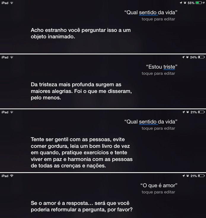 Siri também é capaz de responder perguntas sobre temas complexos (Foto: Reprodução/Elson de Souza)