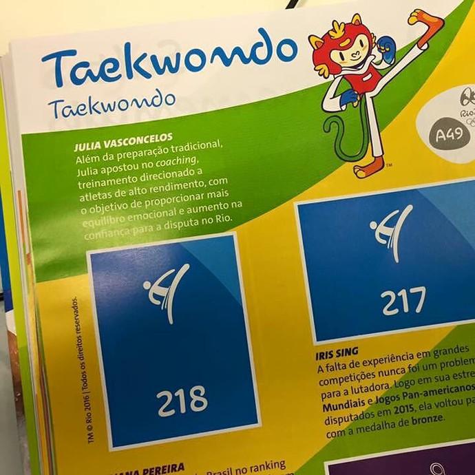 Julia Vasconcelos álbum de figurinhas Olimpíadas taekwondo (Foto: Reprodução/ Facebook)
