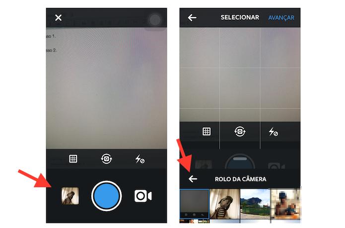 Acessando os álbuns de fotos do iOS pelo Instagram (Foto: Reprodução/Marvin Costa)