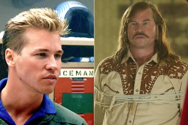 """Val Kilmer como Iceman, em """"Top Gun - Ases Indomáveis"""" (1986), e como Dale, em """"O Grande Golpe"""" (2012) (Foto: Divulgação)"""