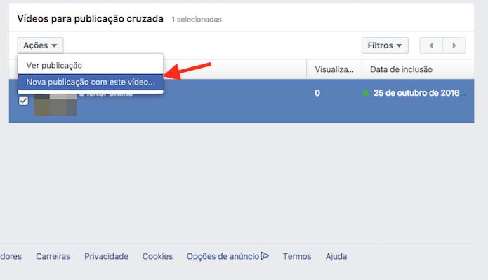 Opção para criar uma publicação cruzada em uma página do Facebook (Foto: Reprodução/Marvin Costa)