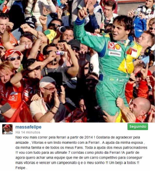 Felipe Massa postou foto de uma vitória no Brasil ao dar notícia de saída da Ferrari através de suas redes sociais (Foto: Reprodução)