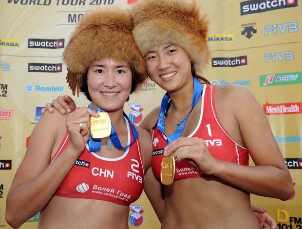 Xue e Zhang Xi, vôlei de praia (Foto: Divulgação/FIVB)