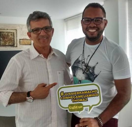 Thomaz conhece seu ídolo, Jussier Ramalho (Foto: Andréa Luiza Tavares)