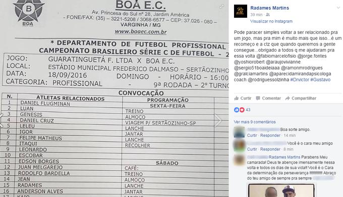 Radamés faz postagem nas redes sociais (Foto: Radamés Martins / Reprodução Facebook)