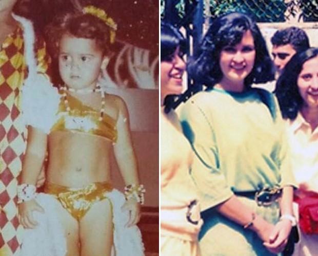 Viviane Araújo e Fátima Bernardes fofas na infância e adolescência, respectivamente (Foto: Arquivo pessoal)