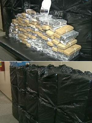 Polícia Militar apreende 8 mil pacotes de cigarro e 100 kg de maconha (Foto: Reprodução/RPC TV)