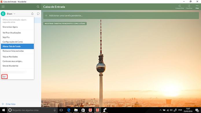 Usuário pode sair da conta do Wunderlist no PC e trocar por outra (Foto: Reprodução/Elson de Souza)