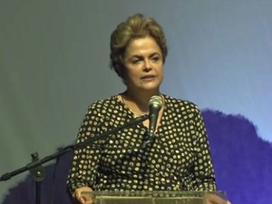 Dilma durante discurso na última terça-feira, 10 de maio (Foto: Reprodução/TV Globo)