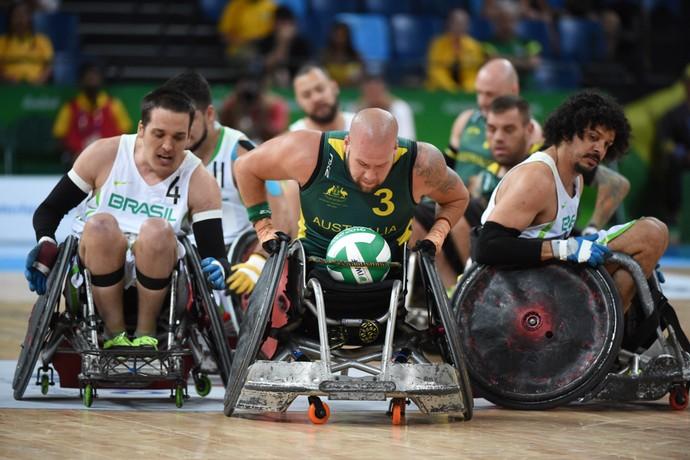 Brasil X Austrália rugby em cadeira de rodas paralimpíada rio 2016 (Foto: André Durão)