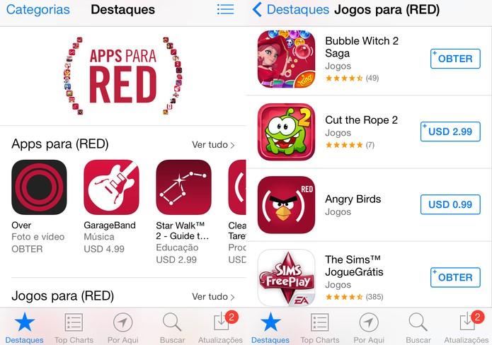 Seção exclusiva de aplicativos [RED] (Foto: Reprodução/ Apple)