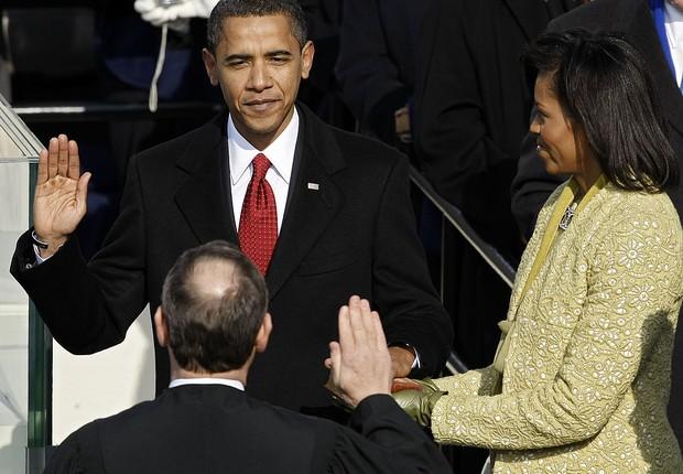 Barack Obama em seu juramento, em 2009 (Foto: Chip Somodevilla/Getty Images)