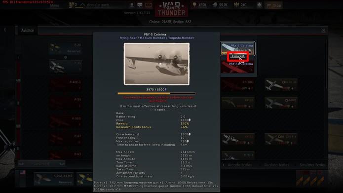 """Na tela de pesquisas, clique em """"Convert"""" para acelerar o desbloqueio de aeronaves (Foto: Reprodução/Daniel Ribeiro)"""
