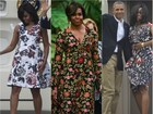 Michelle Obama e as filhas Sasha e Malia capricham nos looks em tour